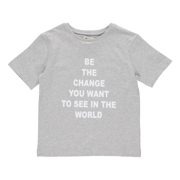 "Jake statement T-shirt grå melange ""Be the change"""