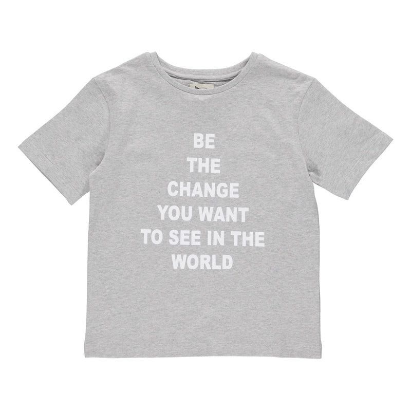 "Jake statement T-Shirt grey melange ""Be the change"""