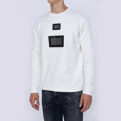 White Round Neck Sweatshirt for Men