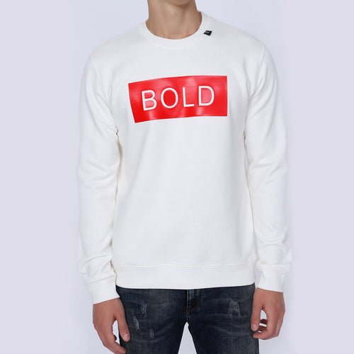 Be Brazen Men's Bold White Sweatshirts | Crew Neck Sweatshirts | Graphic Design Printed Sweatshirts for Men