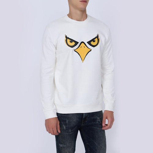 Men's White Eagle Print Designer Sweatshirt