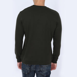 Be Jovial Olive Green Color Sweatshirt for Men | Men's Olive Green Color Sweatshirt | Crew Neck Sweatshirts for Men