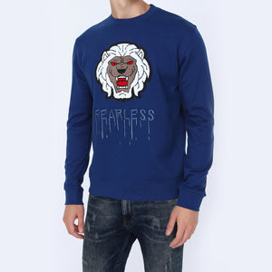 Men's Graphic Lion Fearless Print Black Sweatshirt