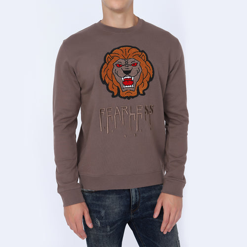 Be Leading Men's Dark Beige Sweatshirt | Crew Neck Sweatshirt | Graphic Print Black Sweatshirt for Men