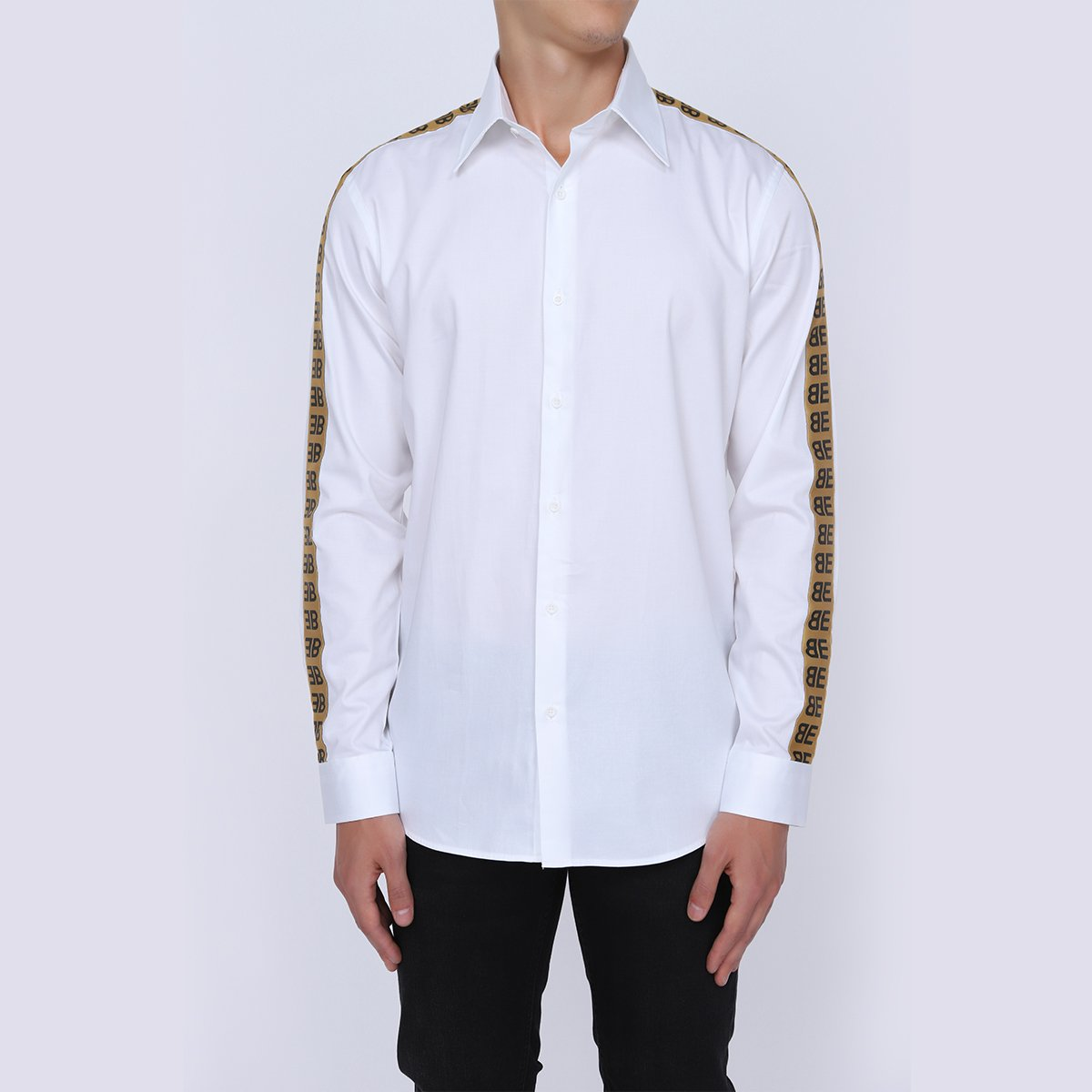Straight Collar Formal White Shirt for Men