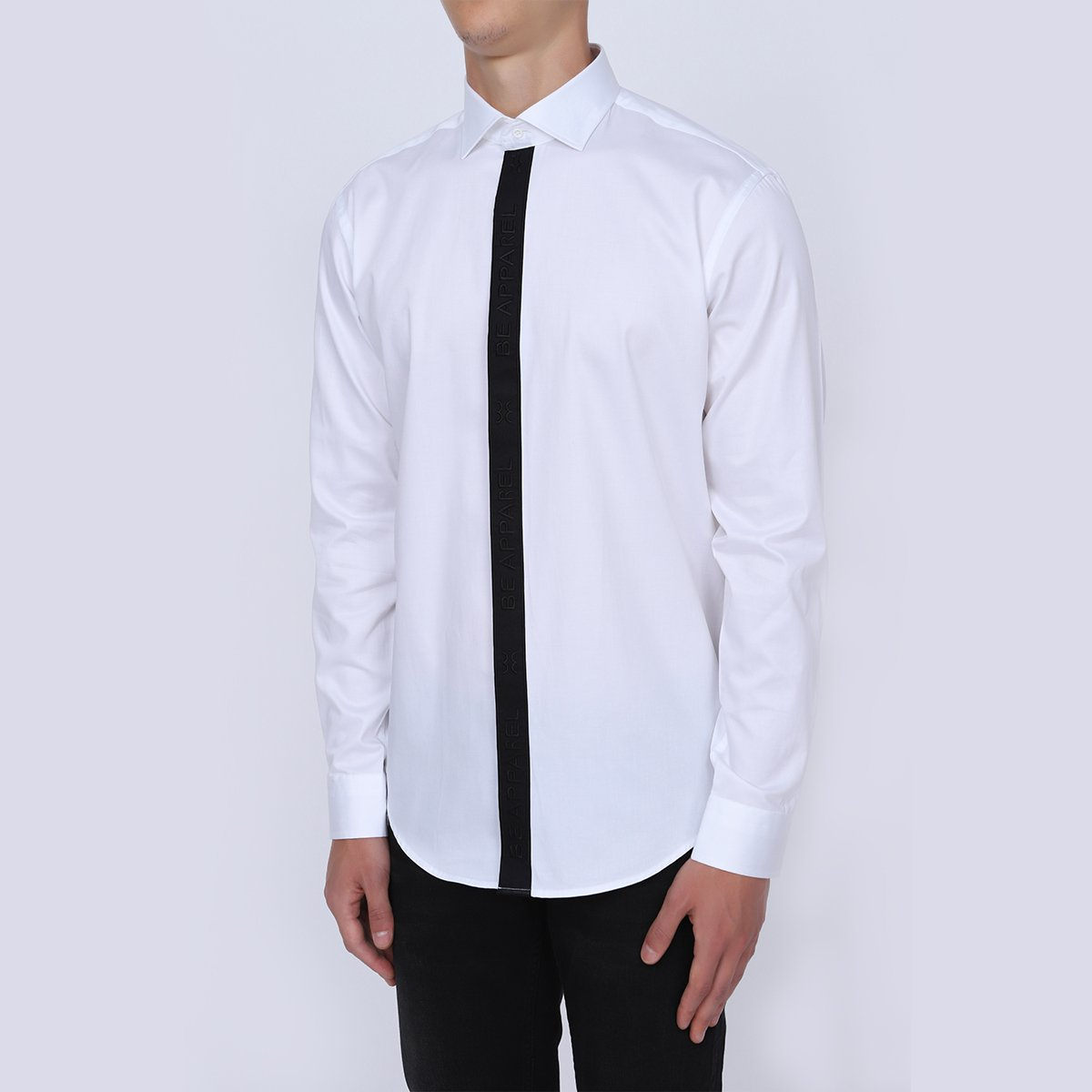 Be Hollywood Mens Slim Fit White Shirt | Classic Cut Placket Trim Formal White Shirt | Long Sleeve Formal Wear White Shirt for Men