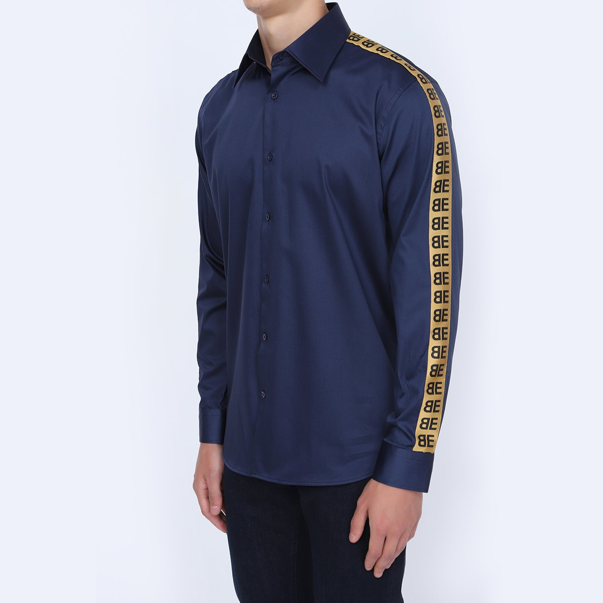 Men's Party Wear Navy Blue Shirt
