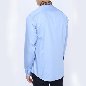 Straight Collar Sky Blue Shirt for Men | Men's Long Sleeve Sky Blue Shirt | Casual Wear Shirt for Men