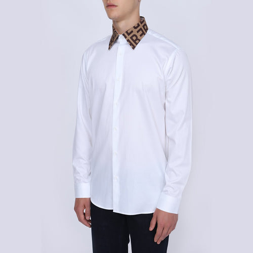 Men's White Slim Cotton Straight Collar Shirt | Men's Long Sleeve White Shirt | Casual Wear White Shirt for Men