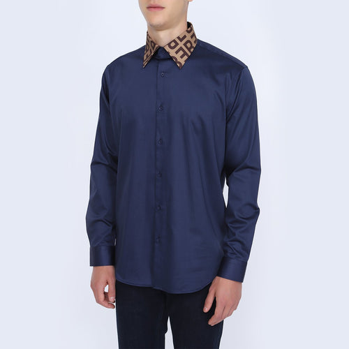 Men's Straight Collar Plain Navy Blue Shirt | Men's Long Sleeve Navy Blue Shirt | Casual Wear Shirt for Men