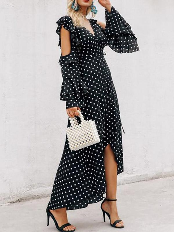 Bohemia Polka-dot V Neck Maxi Dress