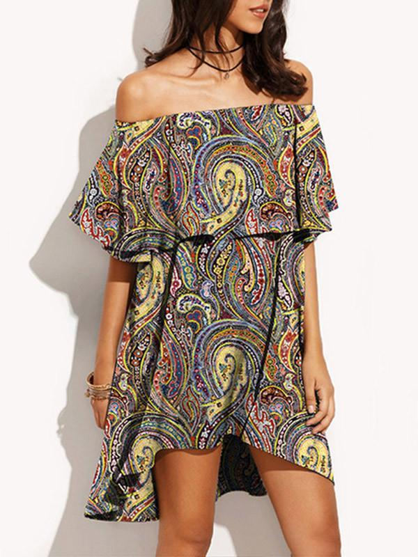 BOHO Women Off Shoulder Floral Print Ruffle Mini Dress