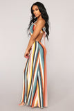 Striped backless Sleeveless Split Sexy Maxi Dress