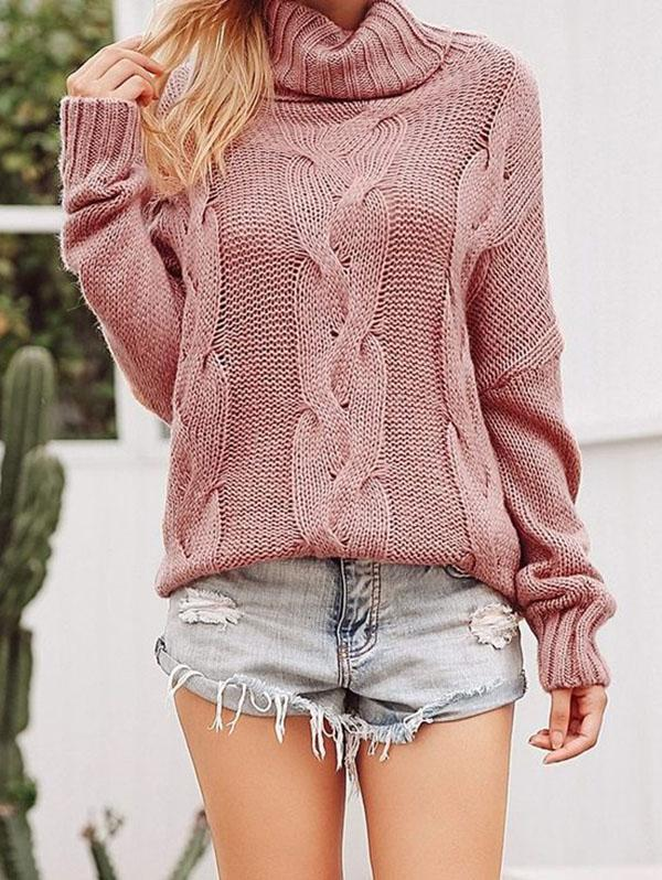 Pink Long Sleeves High-neck Sweater Tops