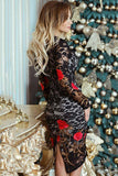 Floral Print Long Sleeve Lace Dress
