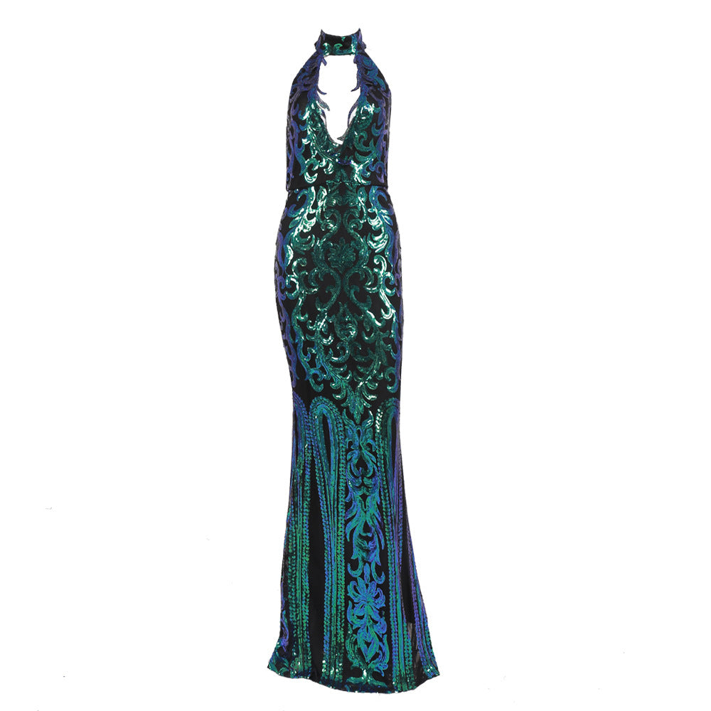 Sequined Elegant High-Neck Hollow out Maxi Party Dress