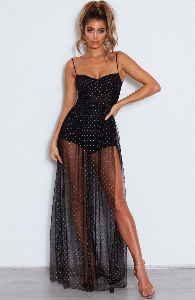 Sexy Sling Mesh Side Slit Maxi Dress