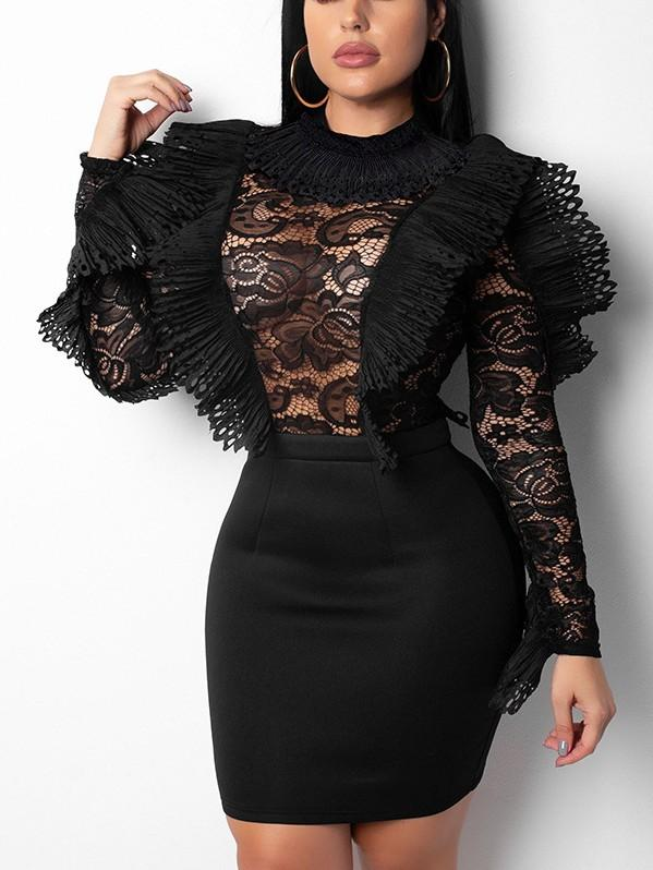Sexy Lace Long Sleeves Jumpsuits