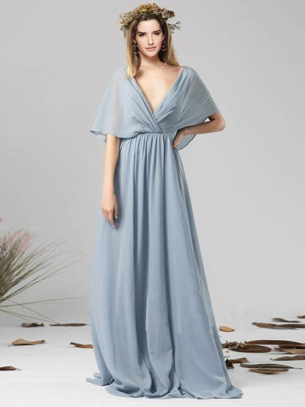 Sexy Deep V Collar Backless Light Blue Chiffon Maxi Dress