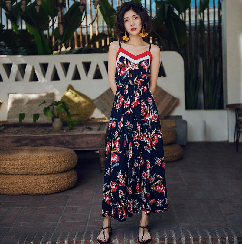 Sling Stitching Print Thin Strap Dress