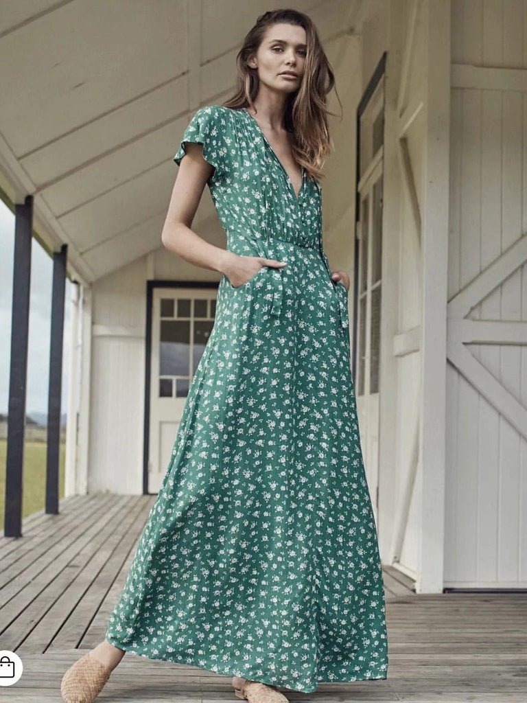 Sexy  V Neck Floral Print Long Dress