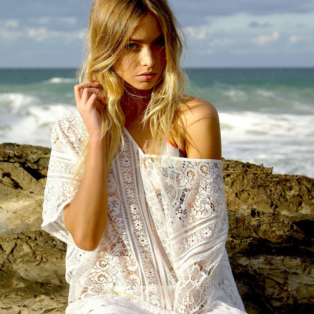 Chic White Vintage Lace Loose Cover Ups