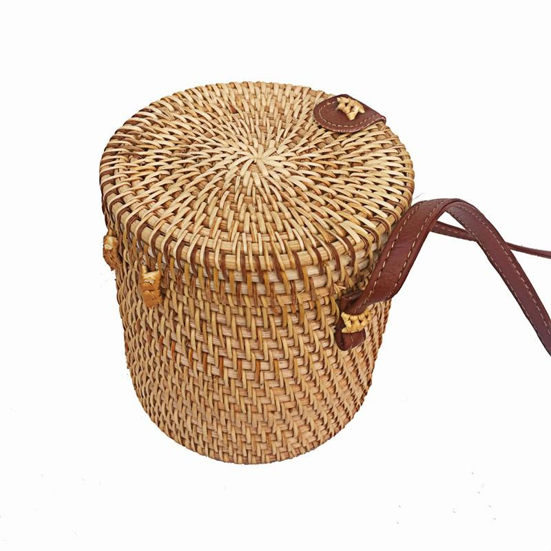 Handmade Rattan Bucket Retro Leather Mini Bag