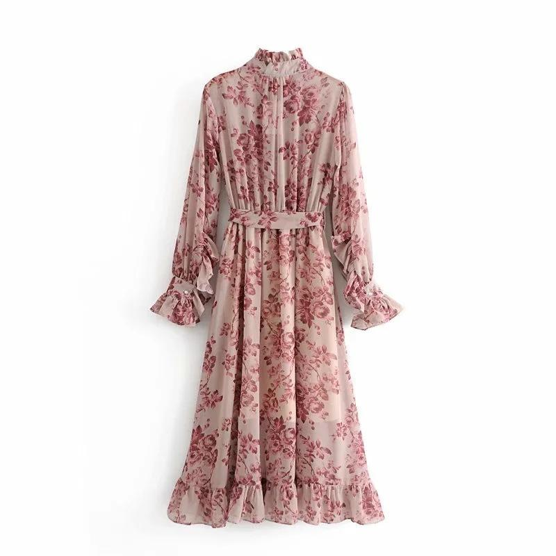 High quality Bohemian floral long sleeves maxi dress