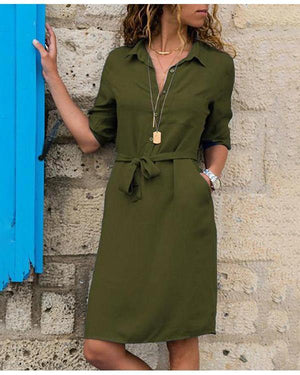 Long Sleeve Loose Mini Dresses V-neck Belted Shirt Dress