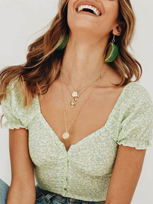 Chic Light Green Deep V Neck Crop Tops