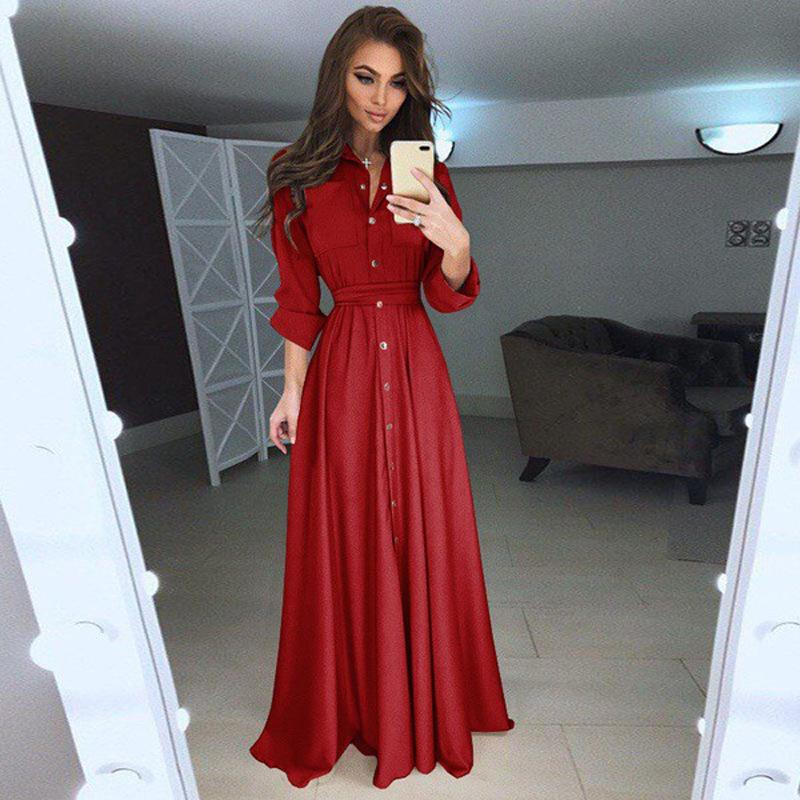 Slim Long-sleeved Button-up Long Dress