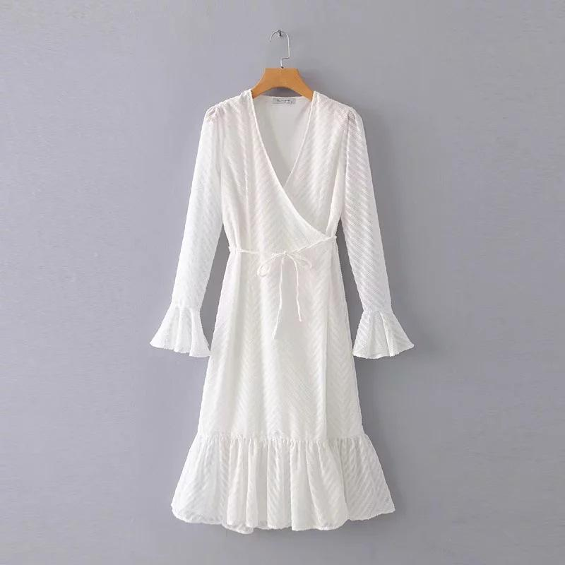 V-neck Long Jacquard Flared Sleeve Dress