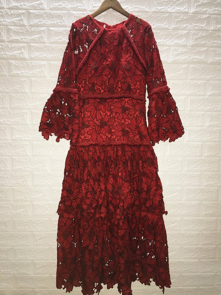 Red Vintage Lace Long Sleeves Evening Dress