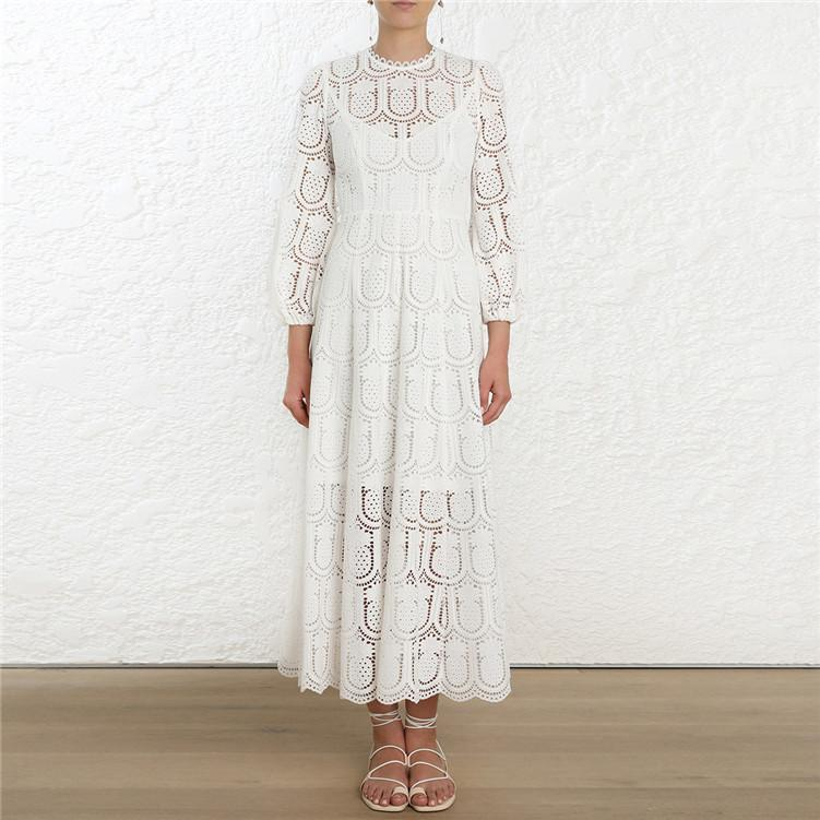 Openwork Embroidered Lace High Waist Midi dress