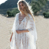 New Holiday White Lace Loose Cover Ups Kimono