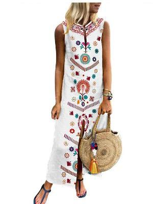V neck Shift Women Daily Casual Sleeveless Maxi Dress