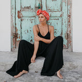 Black Open-Back Wide-Leg Jumpsuit