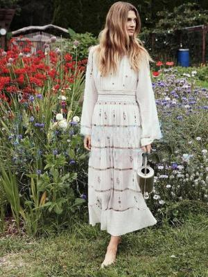 Bohemian Vintage Embroidery Beach Maxi Dress