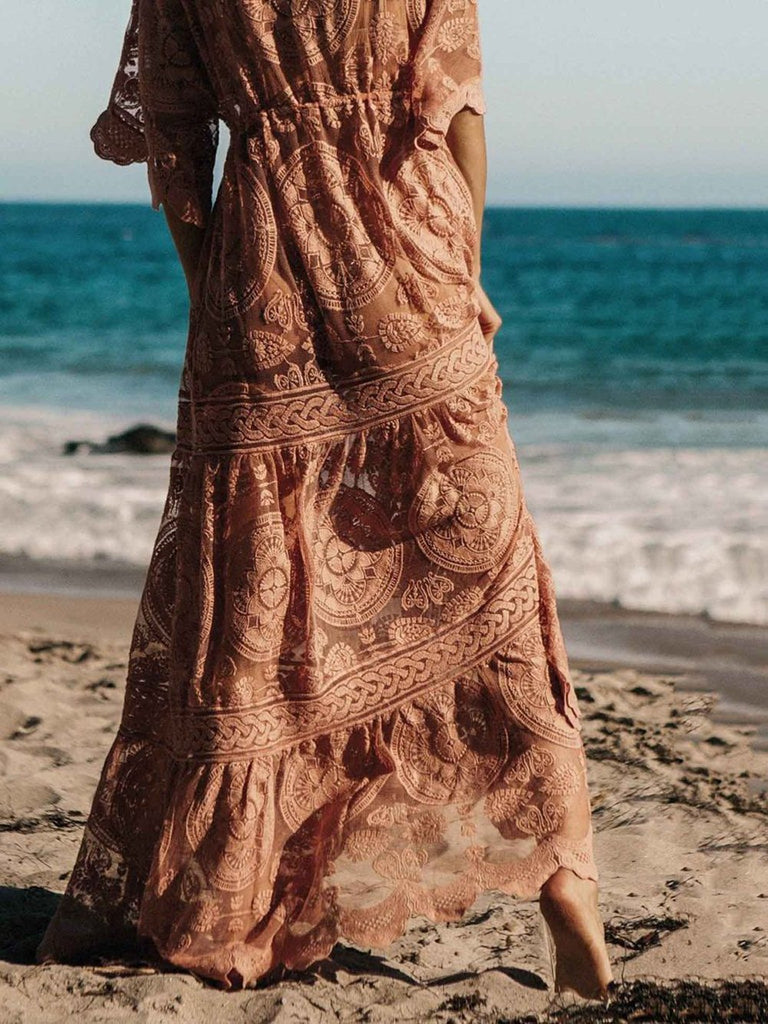 Lace Belted Cover-up Maxi Dress