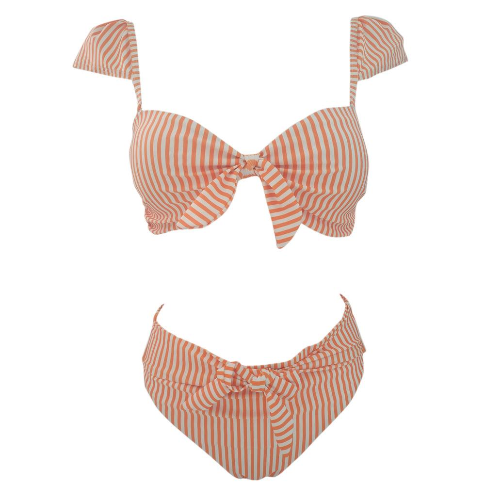 Ties Knot Bikini Striped Push Up Swimsuit