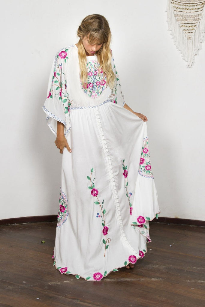 Bohemia Embroidery Split Long Dress