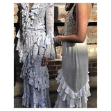 Bohemian Fringed Mother-of-pearl Sequined Maxi Dress