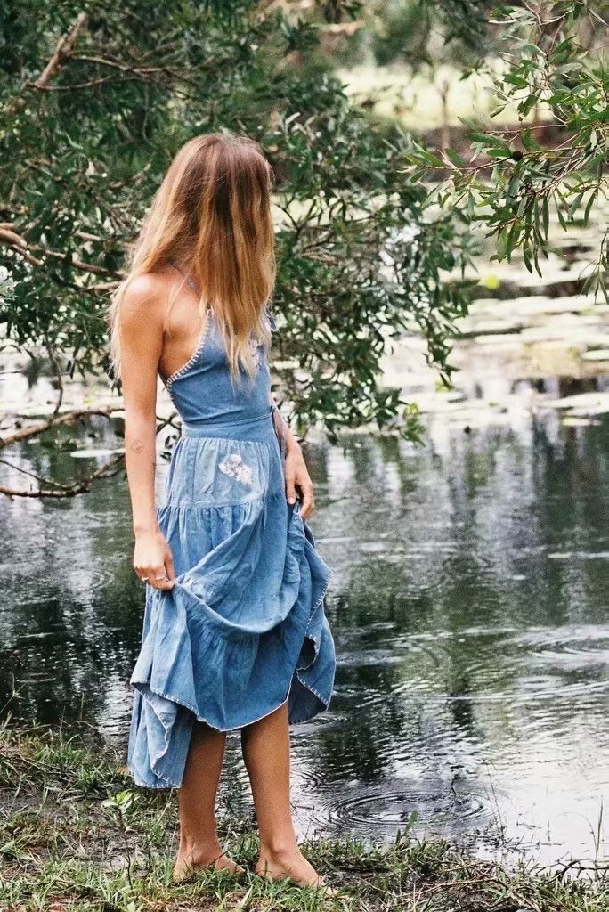 Sexy Embroidered Holiday Denim Sling Dress