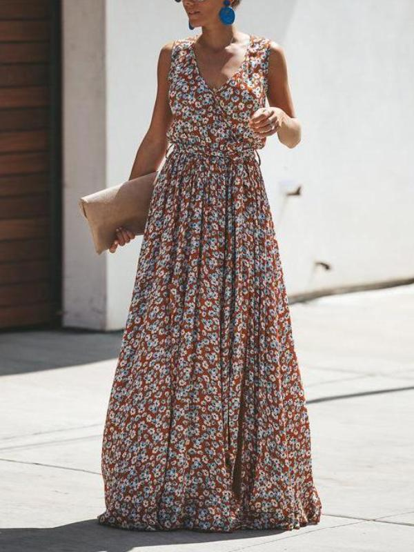 Sleeveless Flowers Printed Bohemian Maxi Dress