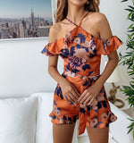 Sexy Halter Floral Printed Ruffles Jumpsuits