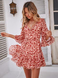 V-neck lace-up  horn sleeve chiffon dress