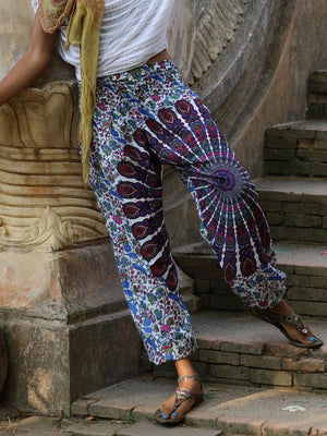 Floral Print Bundle Loose Yoga Dance Lantern Trousers
