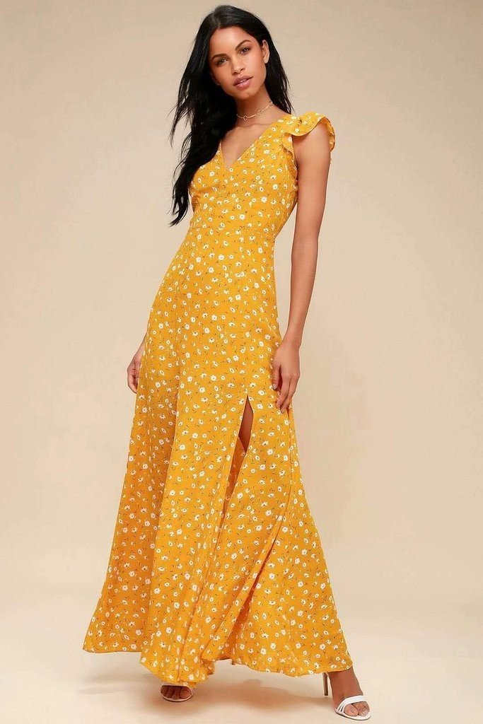 Sexy V Neck Yellow Split Maxi Dress