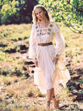 Bohemian Long Sleeve Dress Heavy Embroidery Maxi Dress
