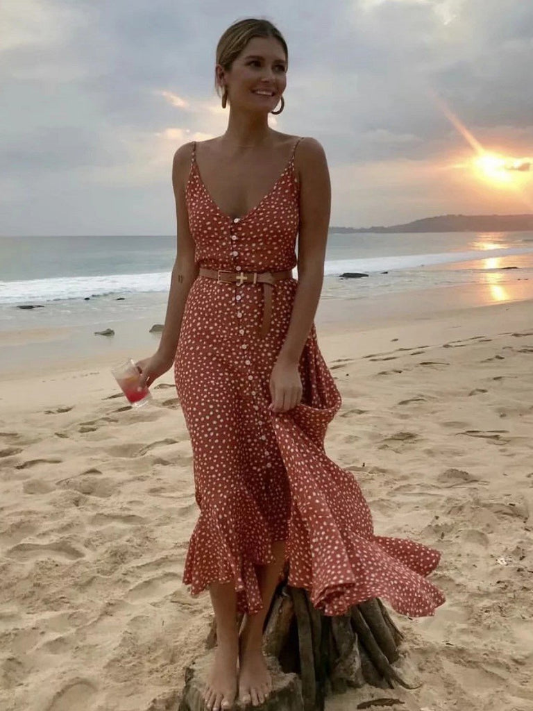 Sexy Polka Dot Holiday Ruffles Maxi Dress